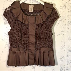 Anthropologie Elevenses Lace Peplum Top Jacket 10